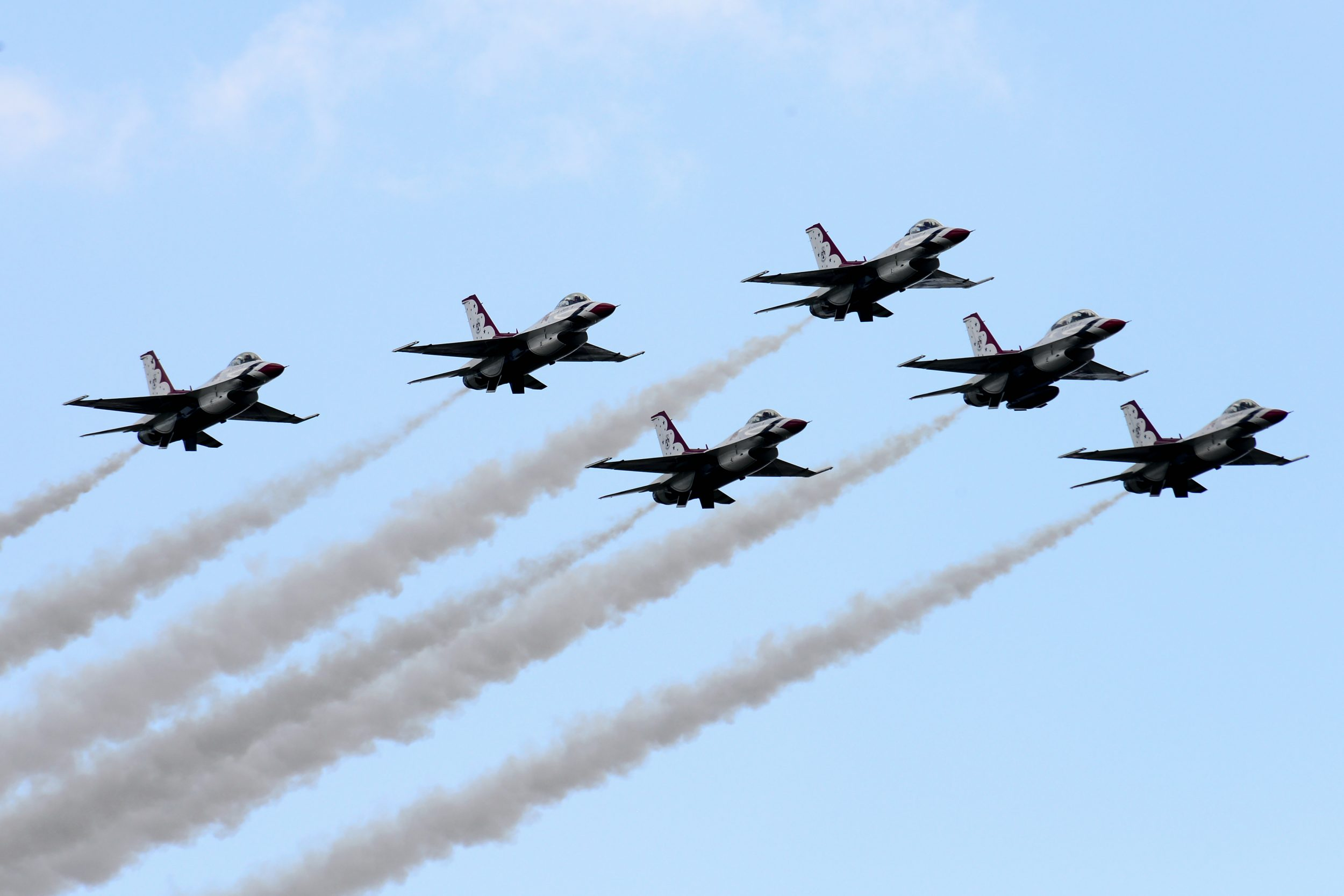 The Thunderbirds Delta Formation pilots perform the Delta Flat Pass, during a practice show at Melbourne, Fla. Oct. 3, 2014. (U.S. Air Force photo/Tech. Sgt. Manuel J. Martinez)